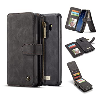 Galaxy S9 Plus Wallet Case, Bpowe Vintage Large Capacity Zipper Pocket Flip Folio 2 In 1 Design Detachable Leather Wallet Case With Id,Credit Card Pockets For Samsung Galaxy S9 Plus (Black, S9 Plus) by Bpowe