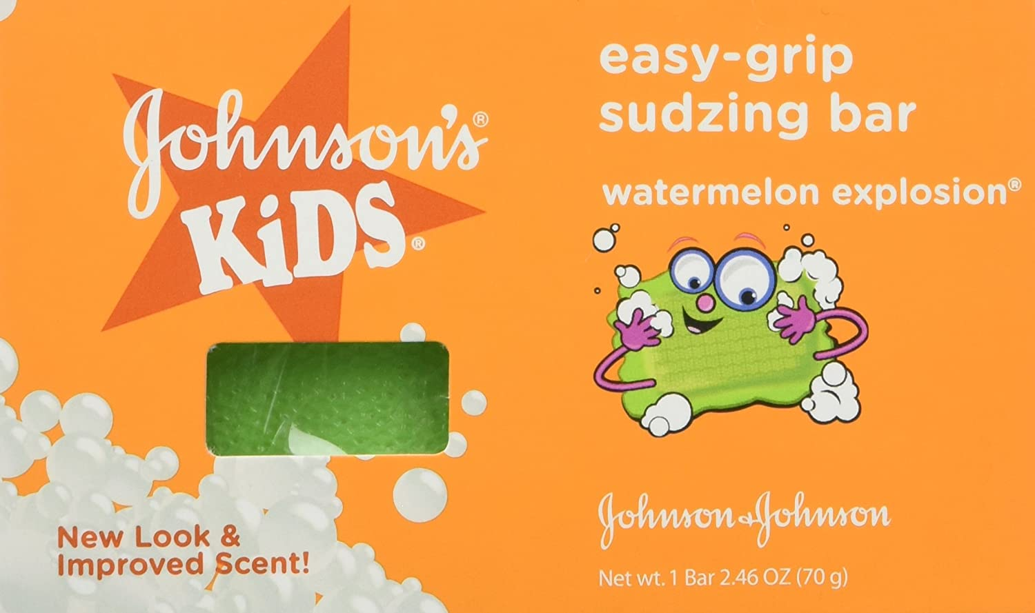 Johnson & Johnson, Johnsons Kids Easy-grip Sudzing Bar Watermelon Explosion 2.46 Oz , 2 Count