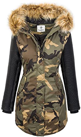 Rock Creek Giacca Invernale da Donna Parka Camouflage Army Jacket D 349