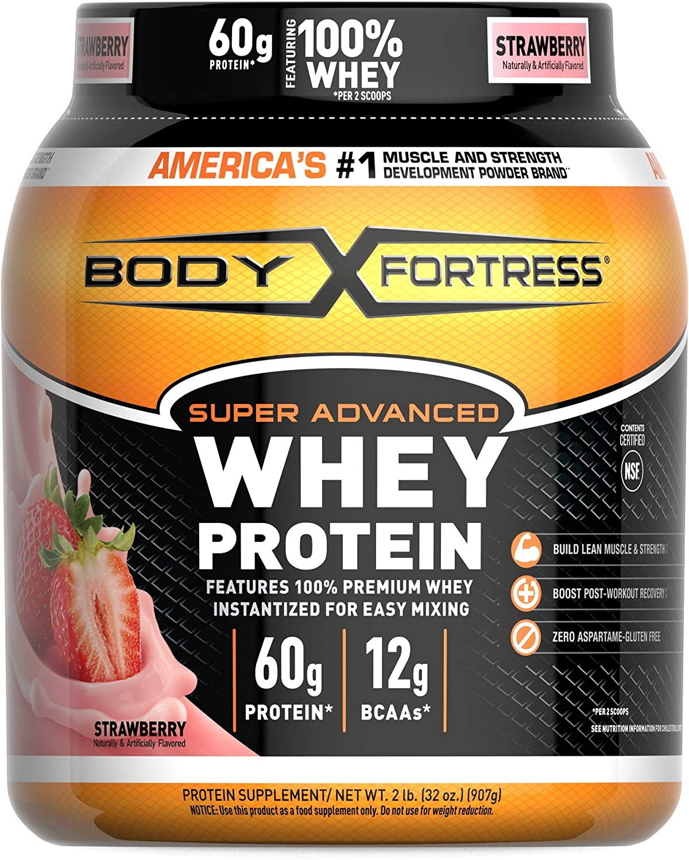 Body Fortress Super Advanced Whey Protein Powder, Strawberry, 2 Pound by Body Fortress