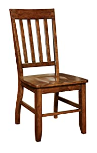 Furniture of America Castile Transitional Dining Chair, Dark Oak, Set of 2