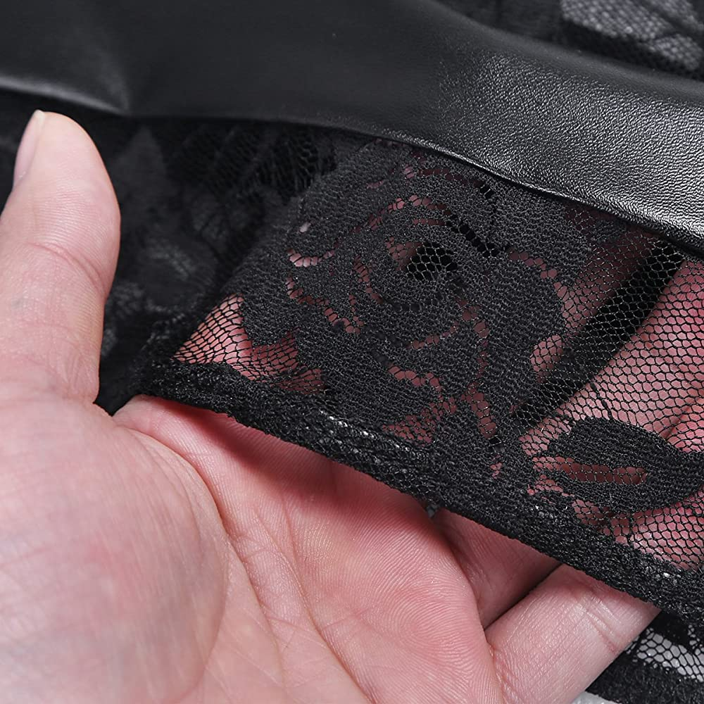 Alvivi Mini Falda Encaje de Cuero para Mujer Falda Bodycon Sexy ...