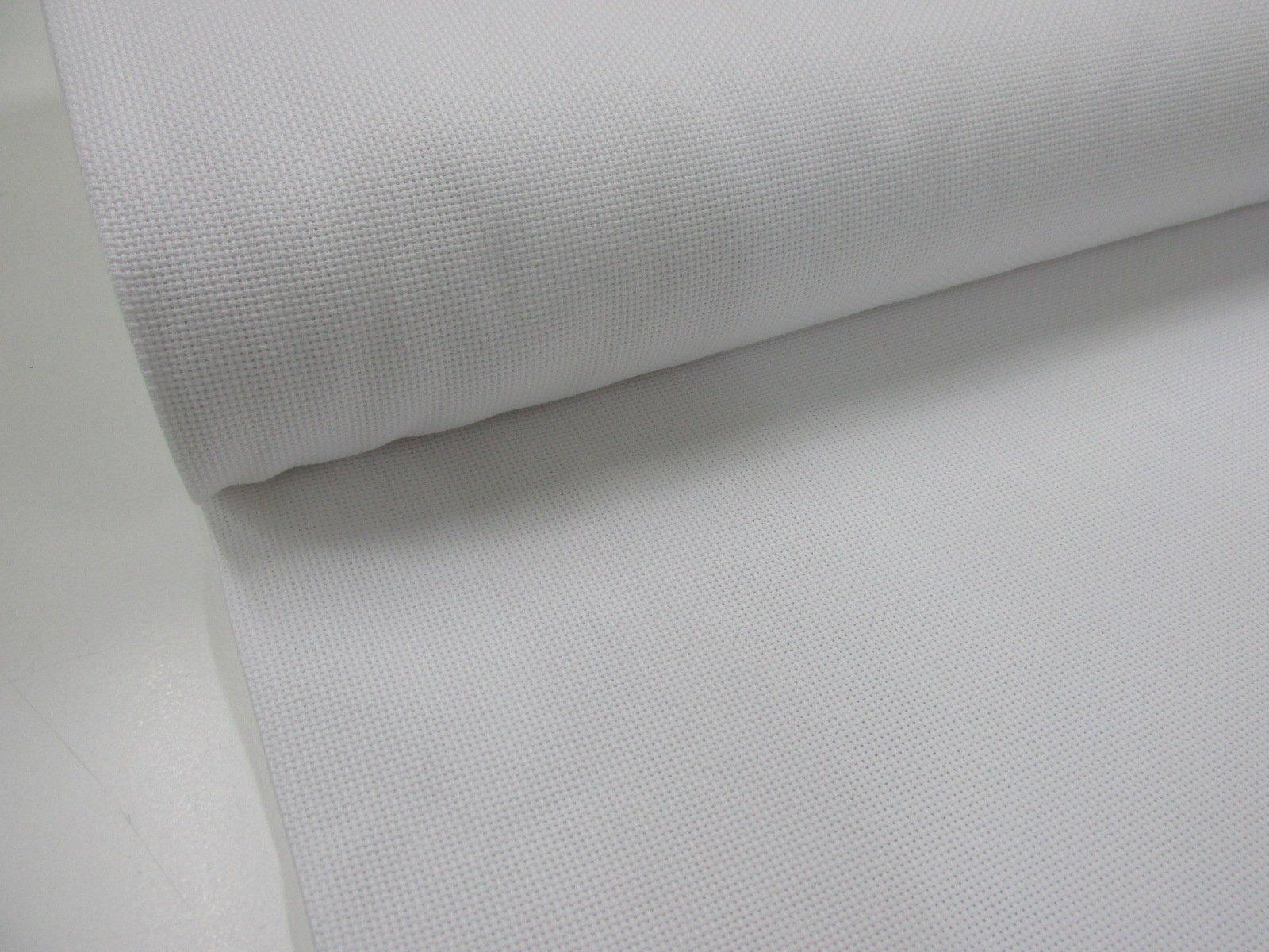 Metraje 0,50 mts. tejido Panama Punto Cruz Blanco con ancho 1,50
