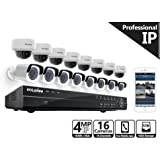 Laview 16 channel nvr security camera system w/16 security cameras, 8 4mp bullet & 8 4mp dome indoor outdoor security cameras, 100ft Night Vision, Pre-Installed 5TB Hard Drive