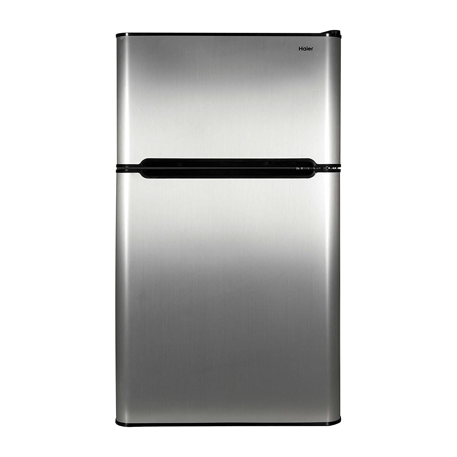 Haier 3.2 cu ft Refrigerator, Stainless Steel 2-Door for Dorm, Garage, Camper, Gameroom, Basement or Office with Separate Freezer Compartment for Cold Food Storage and Frozen Meals HC32TW10SV