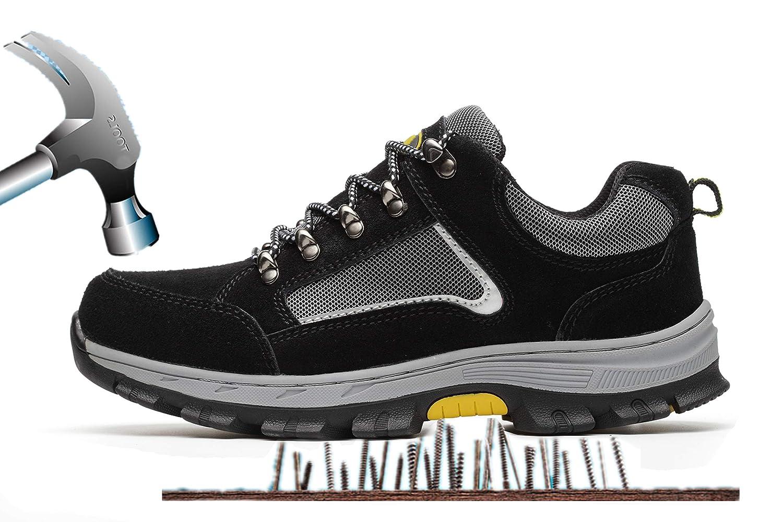Unisex Hombre Mujer Zapatillas de Seguridad con Puntera de Acero Antideslizante Transpirable S3 Zapatos de Trabajo Comodas Calzado de Trabajo Deportivos Botas de Protecció n Industria