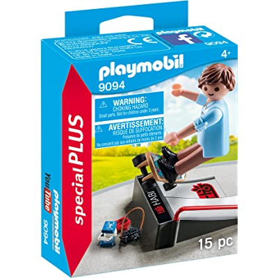 PLAYMOBIL Skateboarder with Ramp Building Set: Toys & Games