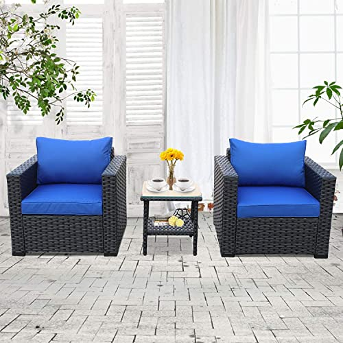 3-Piece Patio Wicker Conversation Furniture Set,Outdoor PE Rattan Single Chair Armchair Sofa and Side Table Furniture, Black Royal Blue Cushion
