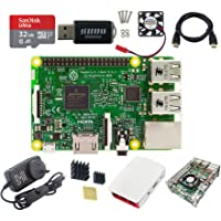 DIGISHUO 9 in 1 Kit Raspberry Pi 3 Model B Module&Official White Red Case&Transparent Case&HDMI Cable&32G Sindisk SD…