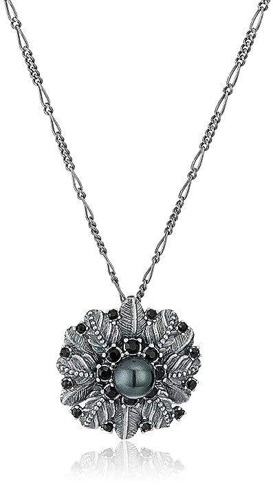 Marc Jacobs Dark Plumes Long Pendant Necklace in Metallic Silver gVHxerm4f