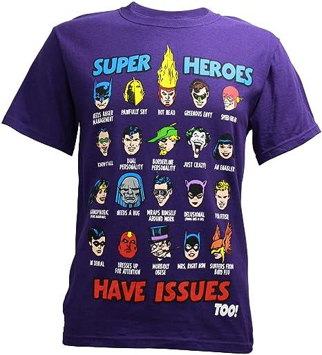 DC Comics Super Heroes Have Issues, Camiseta para Hombre (pequeña)