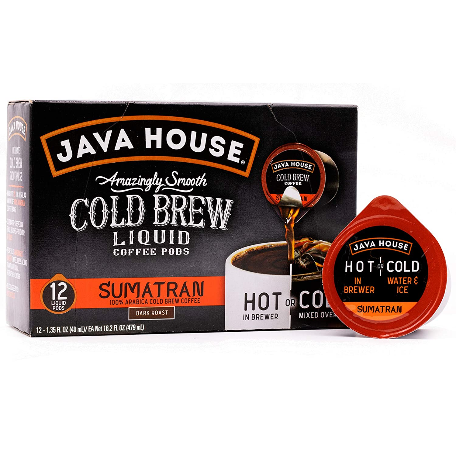 Java House Cold Brew Coffee Concentrate Single Serve Liquid Pods - 1.35 Fluid Ounces Each (Sumatran, 12 Count)