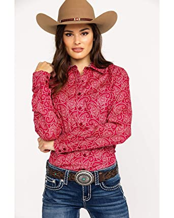 54bbb58f301ef5 Cinch Women's Paisley Print Logo Button Long Sleeve Western Shirt at Amazon  Women's Clothing store: