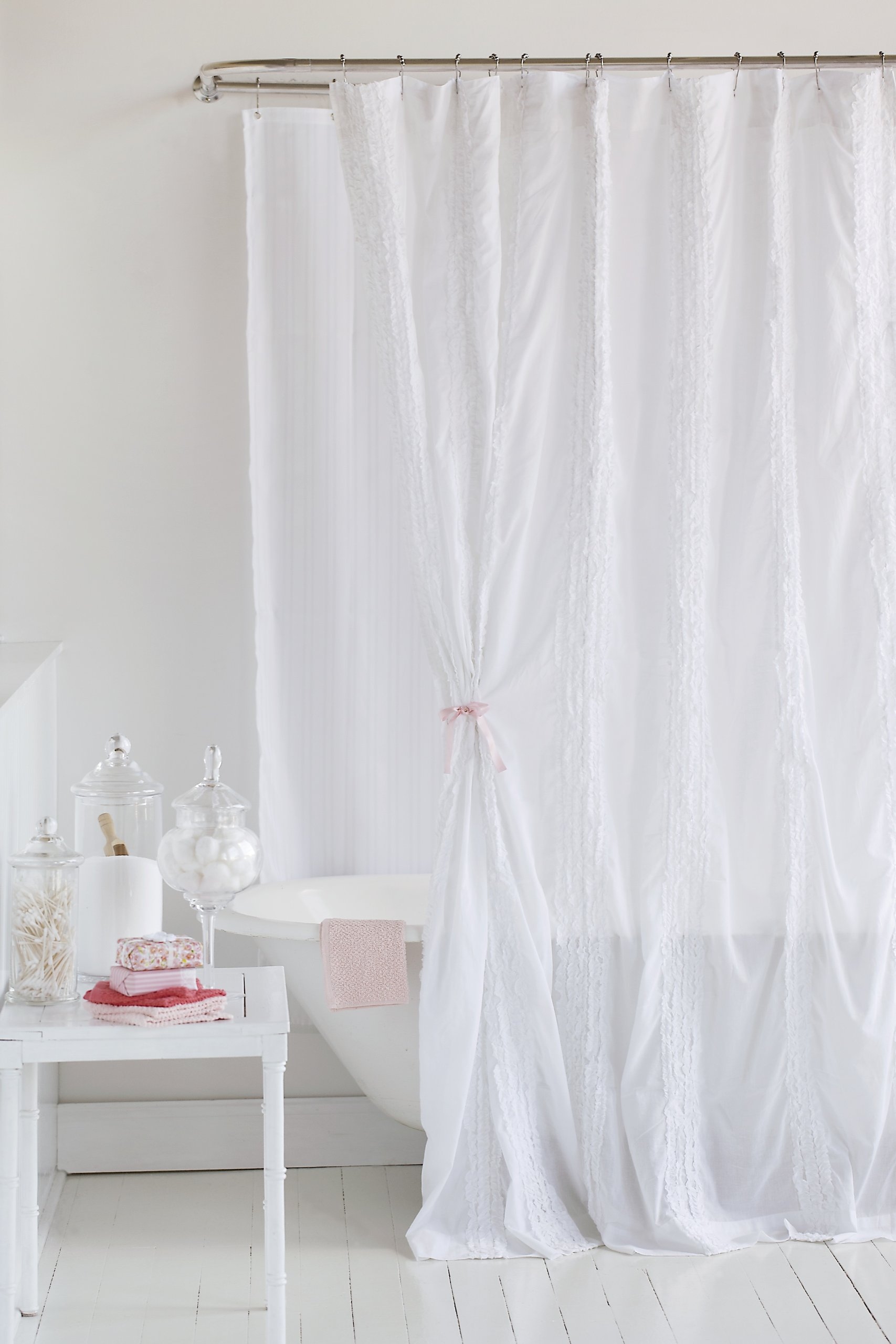 Be-you-tiful Home SC581 Laurie Ruffled Shower Curtain, 72-Inch