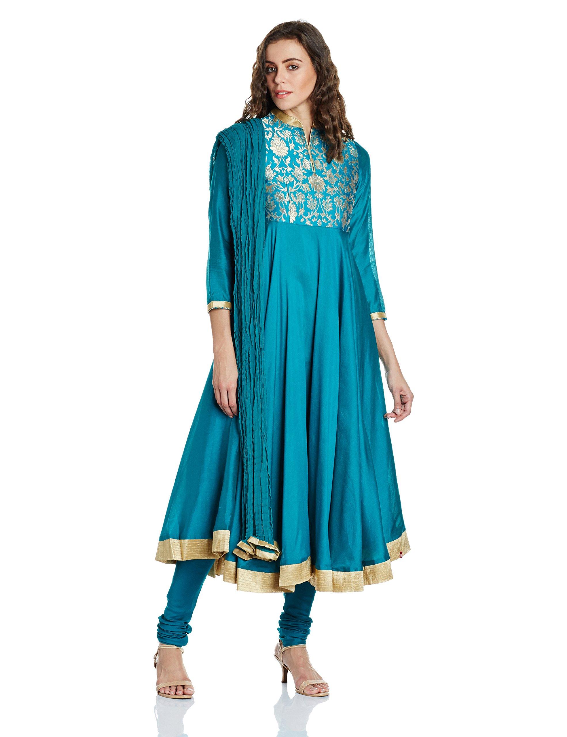 BIBA Women's Anarkali Cotton Suit Set 38 Turquoise