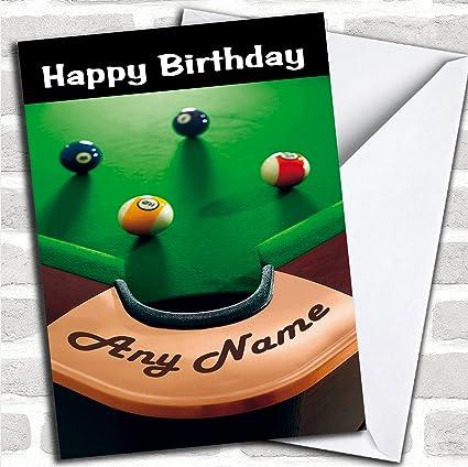 Pool Snooker - Tarjeta de felicitación de cumpleaños con sobre, se puede personalizar completamente, se envía rápido y gratis: Amazon.es: Oficina y papelería