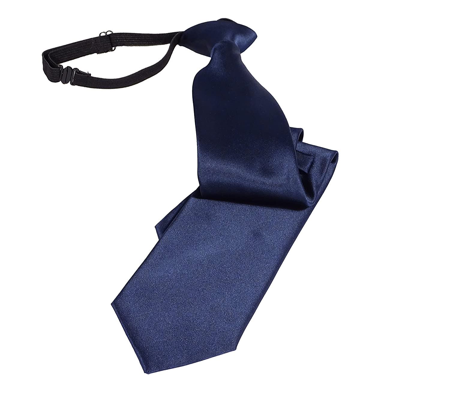 Pietro Baldini Pietro Baldini Adjustable Blue Tie with elastic Band Plain Elasticated Zipper Tie Pre-tied necktie