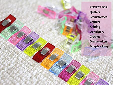Multisizes Sewing Clips for Fabric 35 Pcs Quilting Clips Premium Craft Clips Assorted Colors Crocheting Binding Clips for Sewing,Quilting Crafting Knitting