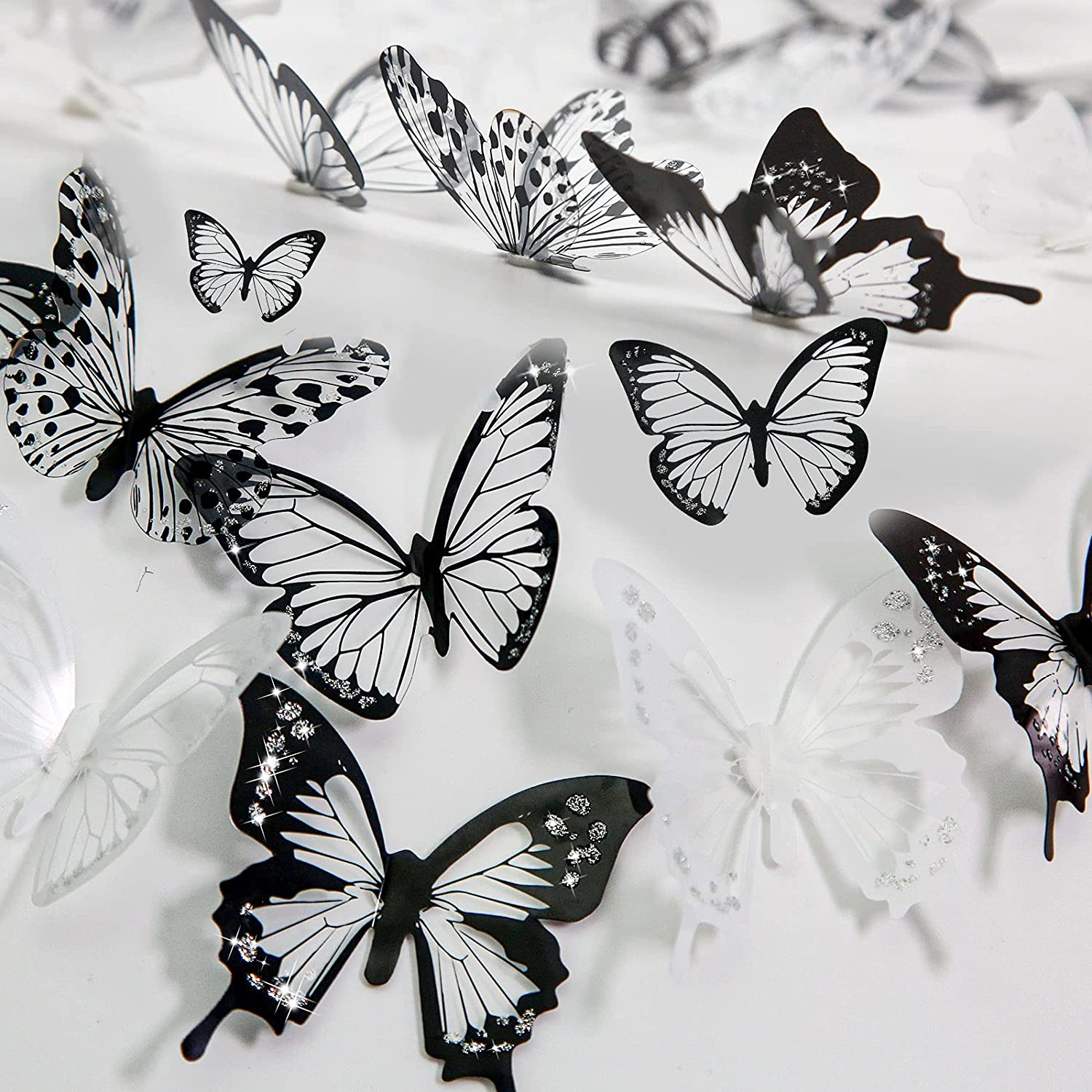 Aulynp 72 Pcs 3D Butterfly Wall Decor Stickers Black White Removable Butterfly Wall Decals Window Furniture Party Birthday Wedding Decoration for Bedroom Living Room Decors, with Sticky Dots