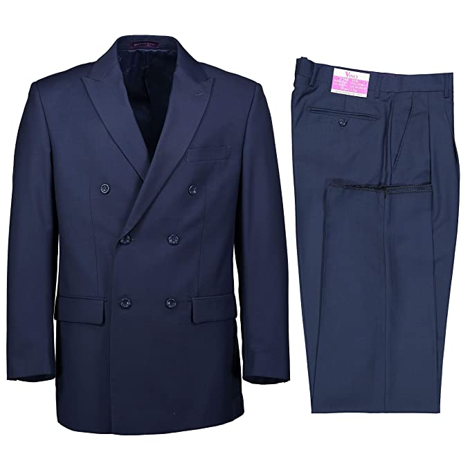 Men's Vintage Style Suits, Classic Suits VINCI Mens Premium Solid Double Breasted 6 Button Classic Fit Suit New $109.95 AT vintagedancer.com