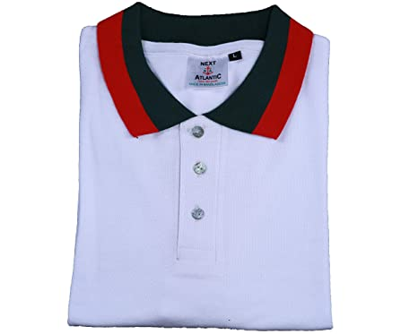 55adbdb789f NEXT ATLANTIC RED & Green Striped Polo Shirt Men's White Premium Polo Shirts  (S,