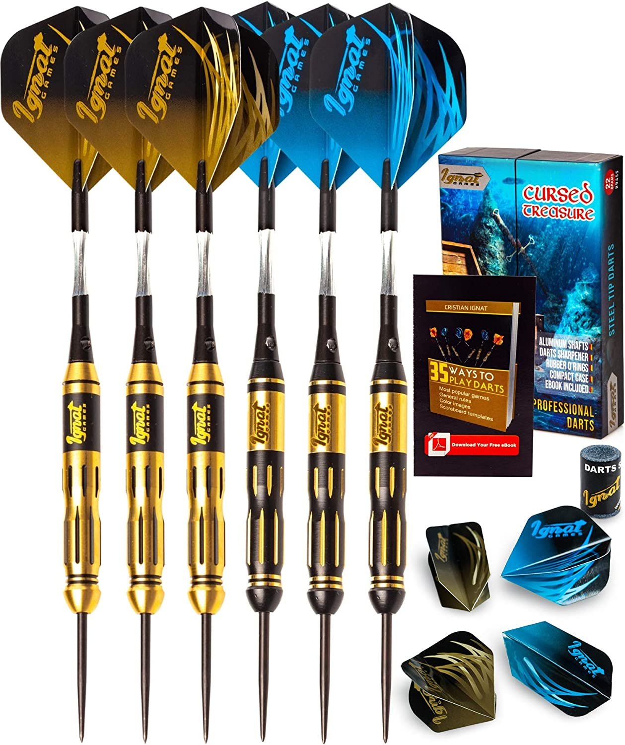 IgnatGames Steel Tip Darts Set - Professional Darts with Aluminum Shafts, Rubber O'Rings, and Extra Flights + Dart Sharpener + Innovative Case + Darts Guide (Tungsten or Brass)