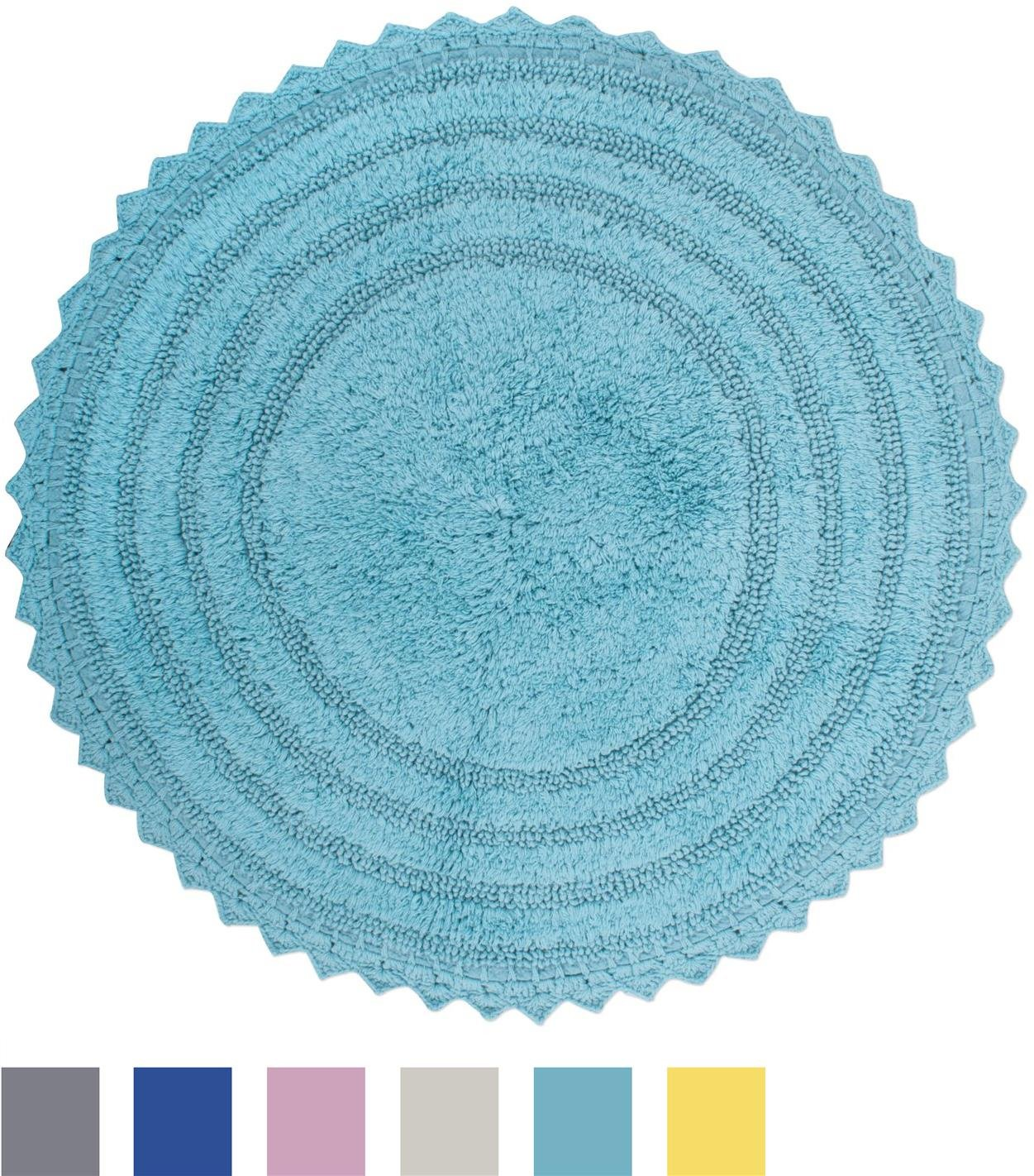DII Ultra Soft Spa Cotton Crotchet Round Bath Mat Place in Front of ...