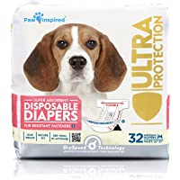 Paw Inspired 32ct Disposable Dog Diapers | Female Dog Diapers Ultra Protection | Diapers for Dogs…