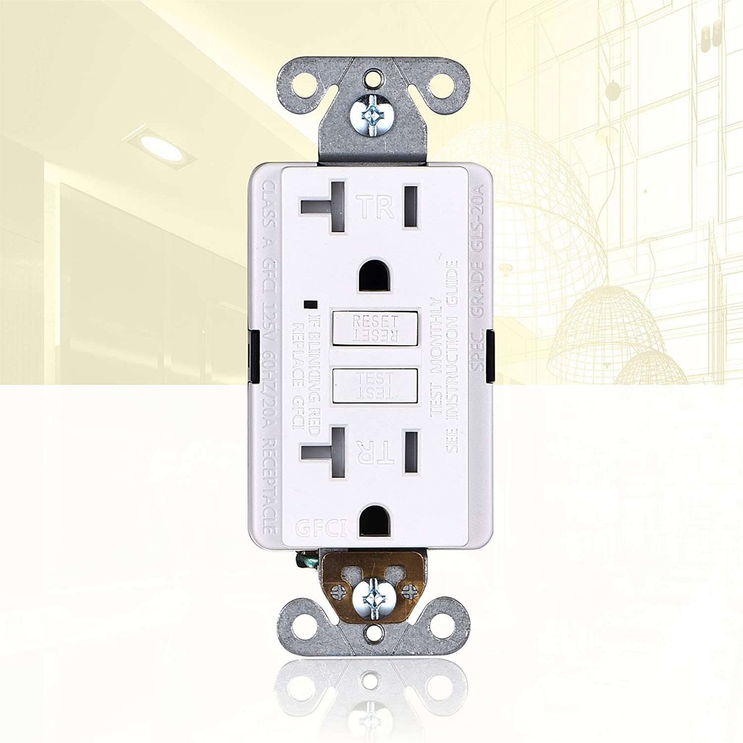 3 Piece Light Almond ETL Listed 20A GFCI Outlets Slim 3-Pack Faith Self-Test Ground Fault Circuit Interrupter Tamper-Resistant GFI Duplex Receptacles with LED Indicator