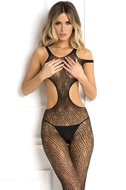 4d08fdd233 Image Unavailable. Image not available for. Color  Rene Rofe Women s Sexy  Crotchless Babydoll Bodystocking Bodysuit Lingerie Black