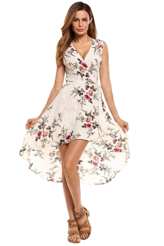 Trudge Damen V-Ausschnitt Wickelkleid Blumenkleid Cocktailkleid Strandkleid Druckkleid A-Linie Kleider mit 3/4 Ärmeln