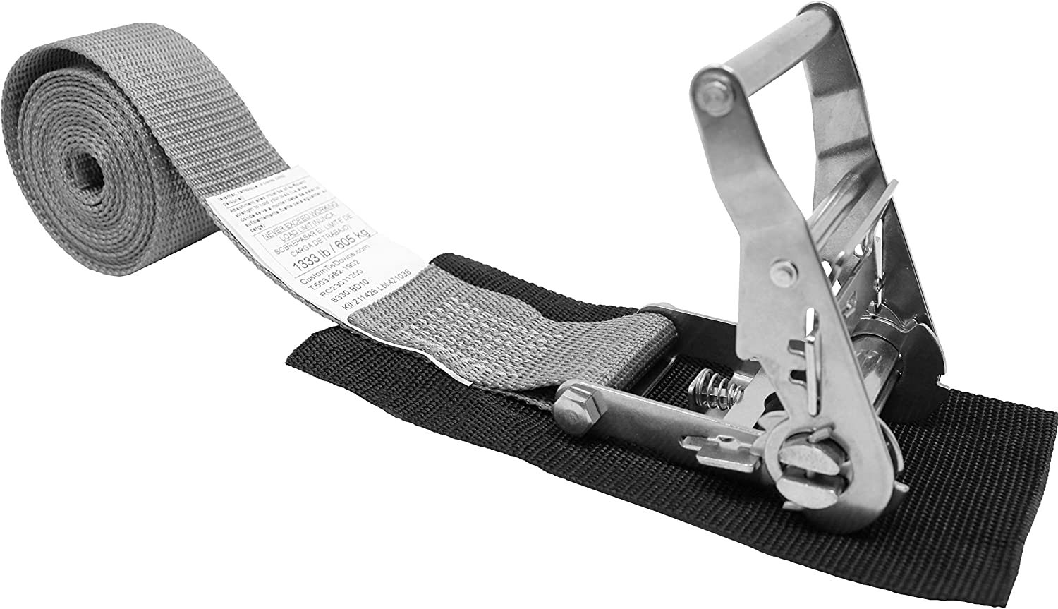 Total Strap Length 10 Ft 2 Inch Endless Loop Ratchet Strap Stainless Ratchet with Short Wide Handle Polyester Tie-Down Webbing. Endless Loop No Hooks Protective Pad Under Buckle