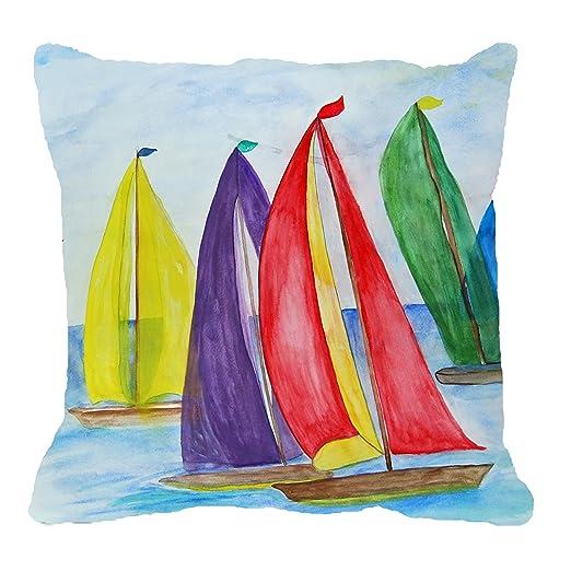 Colorful sails nautical sailboats beach art throw pillow (24 x 24)