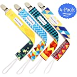 Pacifier Clip 4-Pack | 2-Sided Binky Clips for Baby Boys | Universal Strap/Holder/Leash for Soothies, Teethers, & Pacifiers by Bodacious Bambino