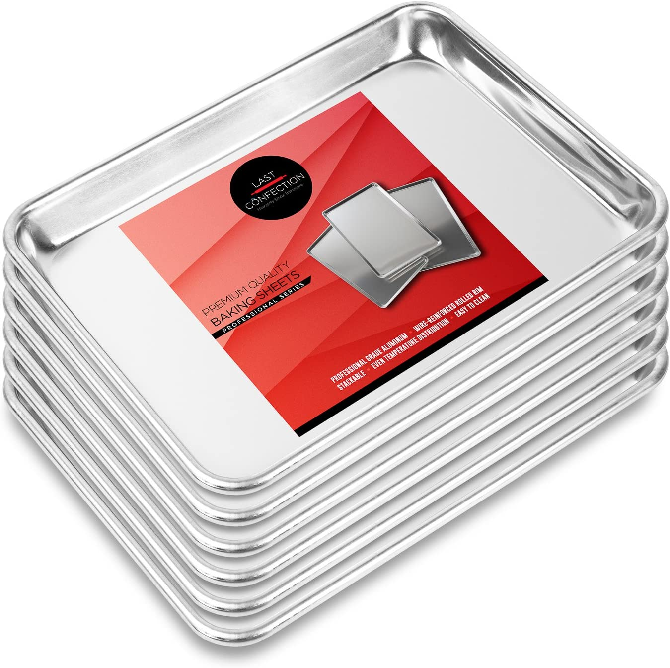"Last Confection 6 Cookie Baking Sheets 9"" x 13"" - Small Rimmed Aluminum Jelly Roll Trays - Quarter Sheet Pans"