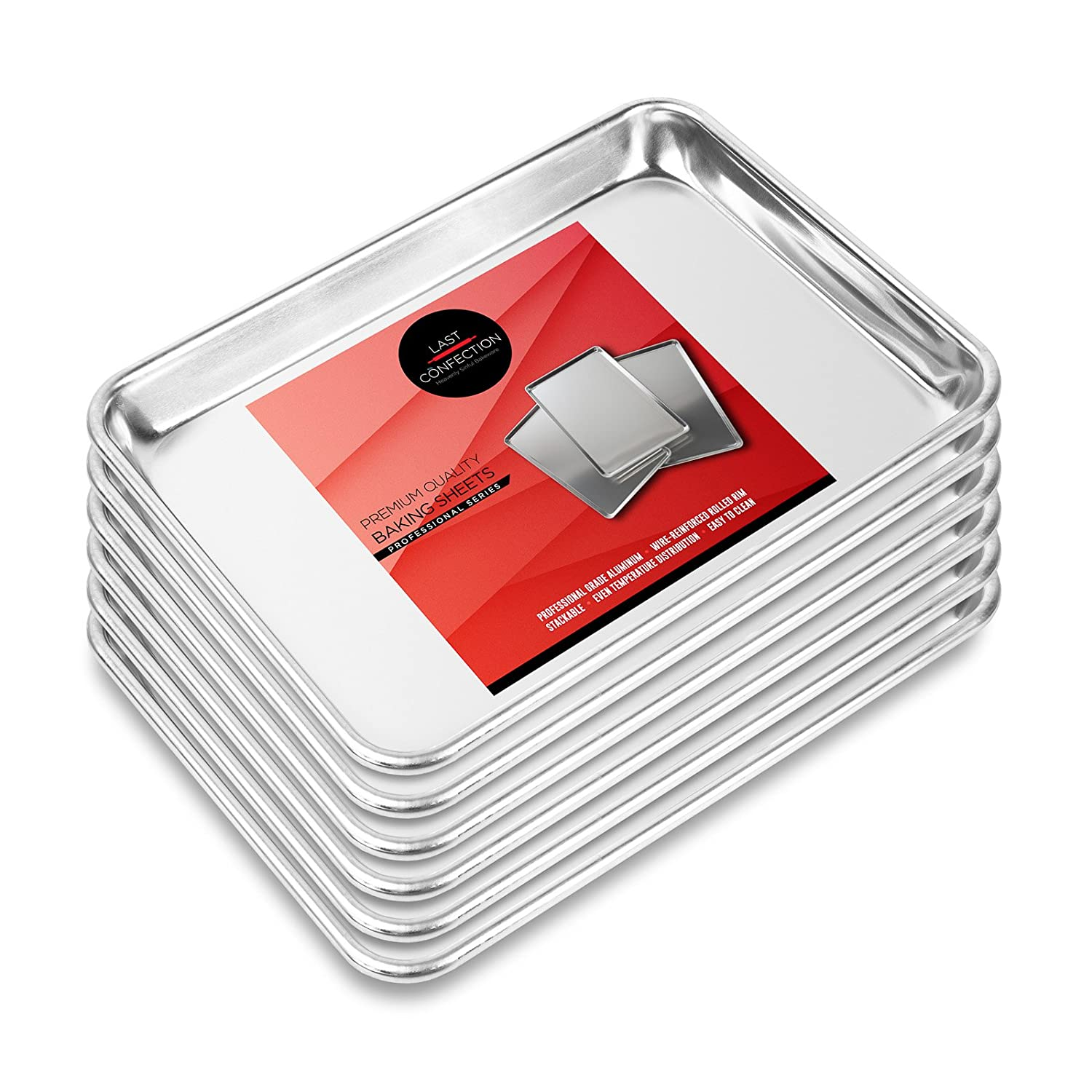 Last Confection 6 Cookie Baking Sheets 9 x 13 - Small Rimmed Aluminum Jelly Roll Trays - Quarter Sheet Pans