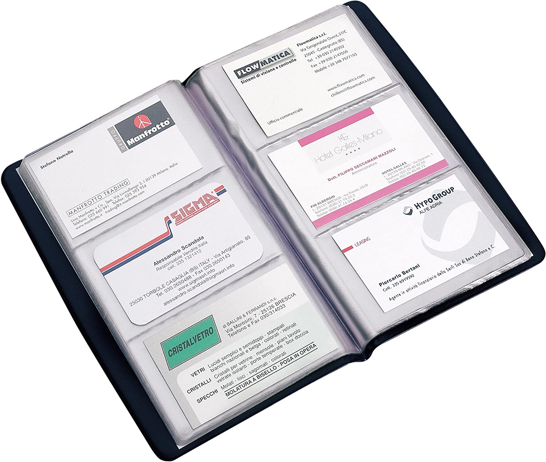 portes cartes de visite Favorit 100460542 60pockets porte cartes de visite 60 pochettes, Bleu, PVC, 20 feuilles, 190 mm, 110 mm