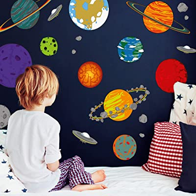 Cartoon Planet Wall Decals | Space Wall Decals | Perfect for a Creating a Space Themed Room: Baby