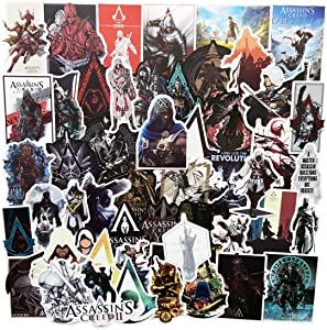 50Pcs Assassins Creed Game Stickers Laptop Stickers Stickers for Kids Teens Water Bottles Bicycle Skateboard Luggage Decal (Assassins Creed)