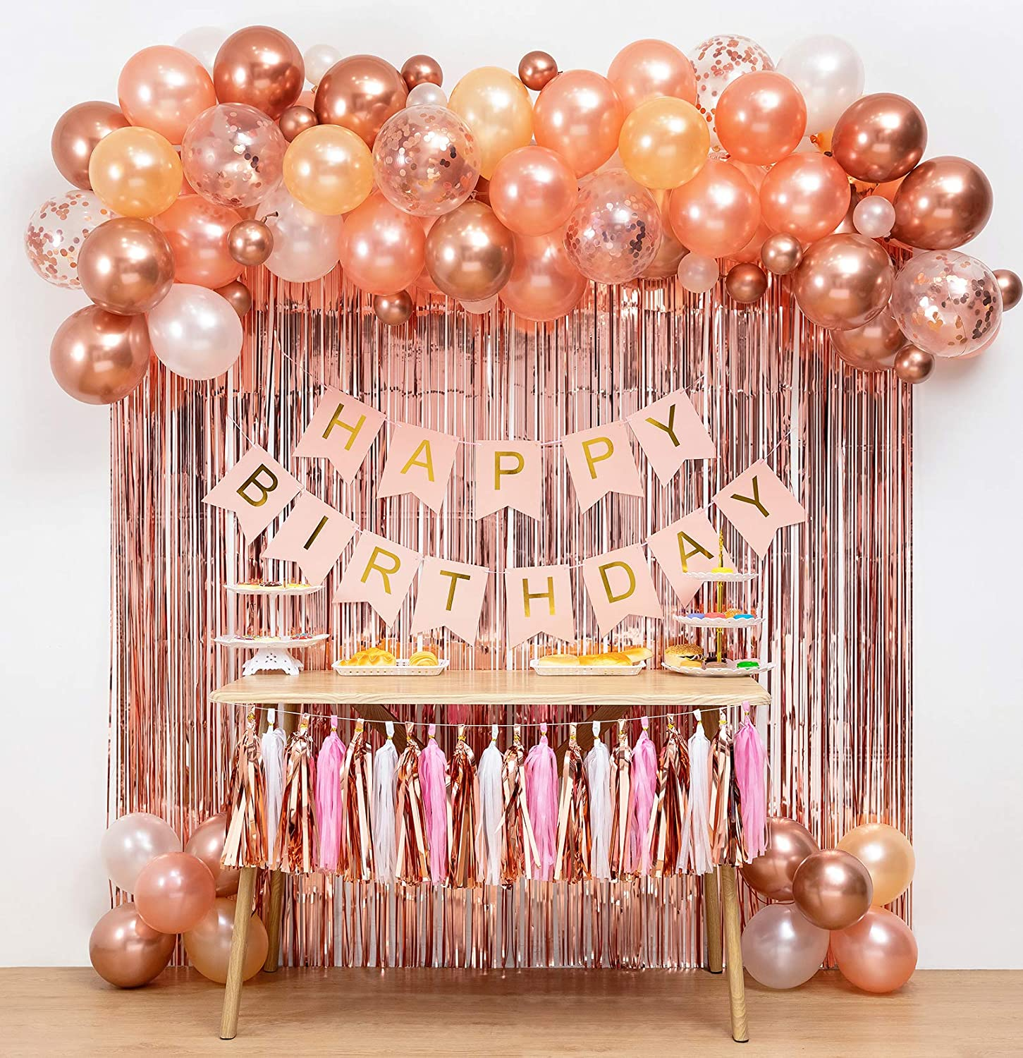 Rose Gold Birthday Party Decorations&Balloons Arch Garland(Rose Gold),Pink Happy Birthday Banner,Fringe Curtain 2pcs,Paper Tassel,Balloon Decoration Tools,Confetti Balloons,for Girl Party Photo Props