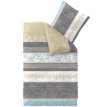 Bettwäsche 155x220 Baumwolle Trend Vanesa Blumen Streifen Beige