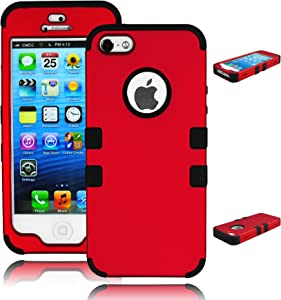 Bastex Heavy Duty Hybrid Case for Apple iPhone 5, 5g, 5s, 5th Generation - Black Silicone Gel Cover/Red Hard Plastic Shell