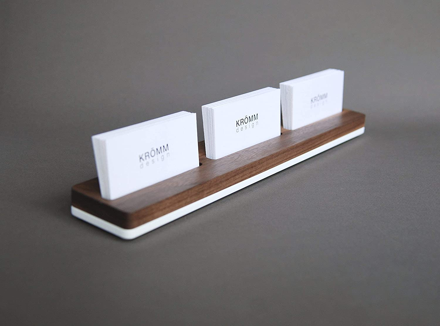 Multiple Horizontal Business Card Stand, Multiple Business Card Display, Multiple Business Card Holder, Multiple Business Card Wooden Display, Walnut Wood and White Acrylic