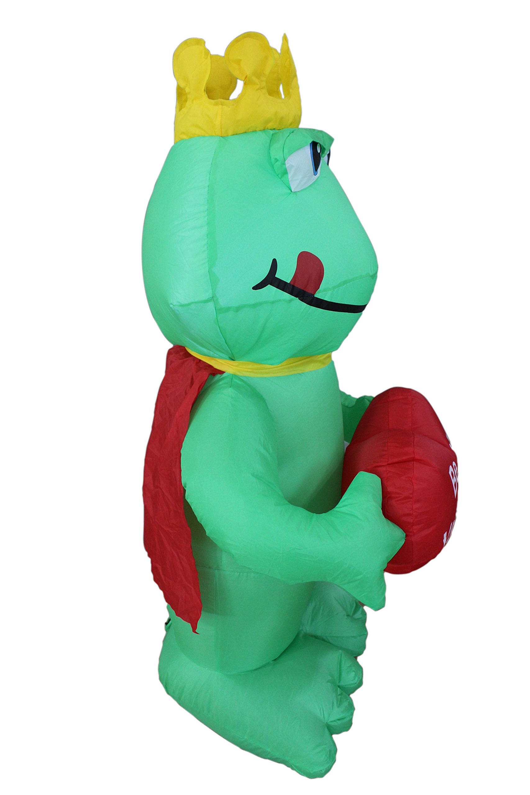 a23baa2f73649 4 Foot Valentine's Day Inflatable Frog King with Sweet Heart Yard ...