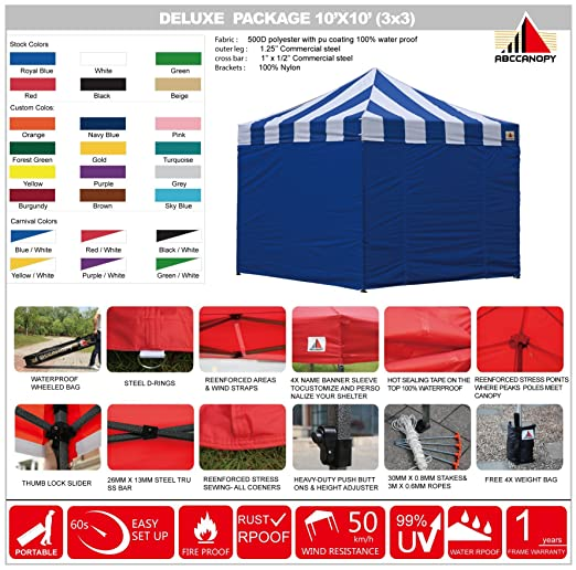 Amazon.com: AbcCanopy Carnival Canopy 10x10 Heavy Duty Pop Up Canopy Tent With Walls For Outdoor Event Bouns 4x Weight Bag (BLUE/WHITE WITH BLUE WALLS): ...