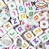 JPSOR 300Pcs 10mm Acrylic White Cube Letter Beads Alphabets Beads for Bracelets and Jewelry Making, with 2 Threads and Pouch