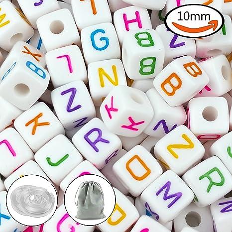 55c98b3bc14e jpsor 300pcs 10 mm acrílico blanco cubo cuentas de letra del alfabeto cuentas  para pulseras y