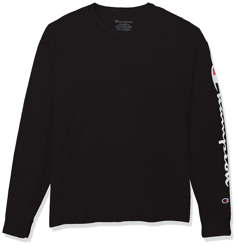 a865429d Amazon.com: Champion Men's Classic Jersey Long Sleeve Script T-Shirt:  Clothing