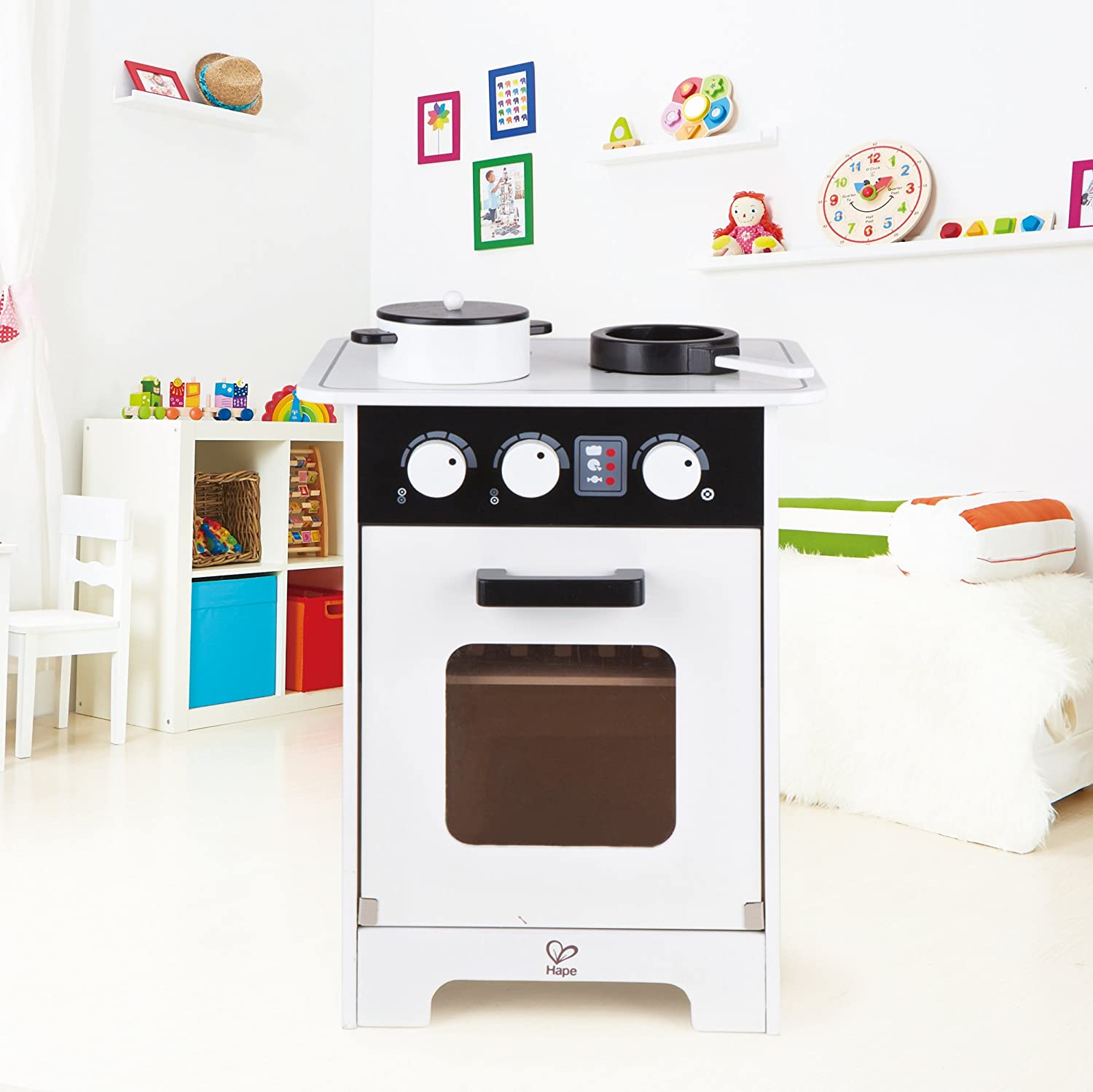 Amazon.com: Hape Kids Compact Modern Wooden Play Kitchen: Toys & Games