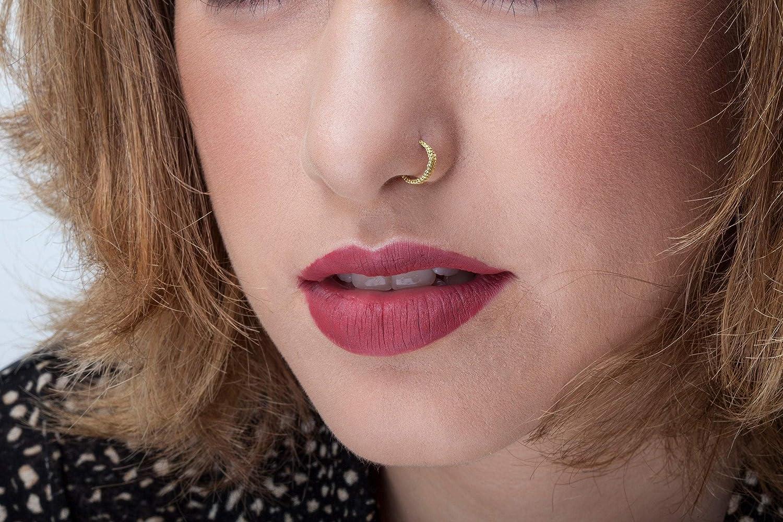 Amazon Com 14k Gold Nose Hoop Ornate Nose Hoop Gold Nose